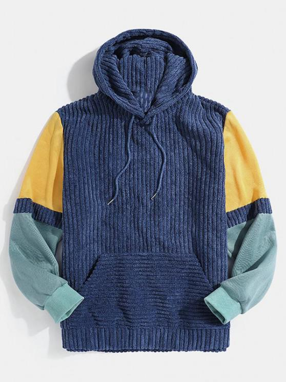new Front Pocket Colorblock Corduroy Hoodie - BLUE M