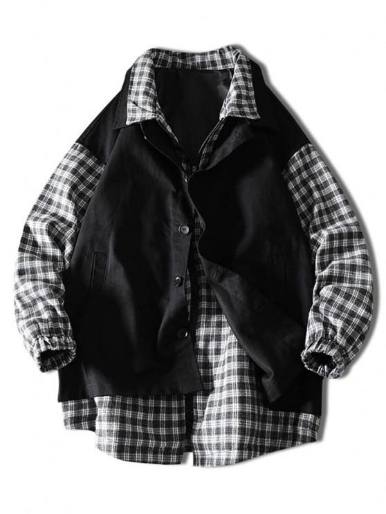 fancy Plaid Faux Twinset Jacket - BLACK XL