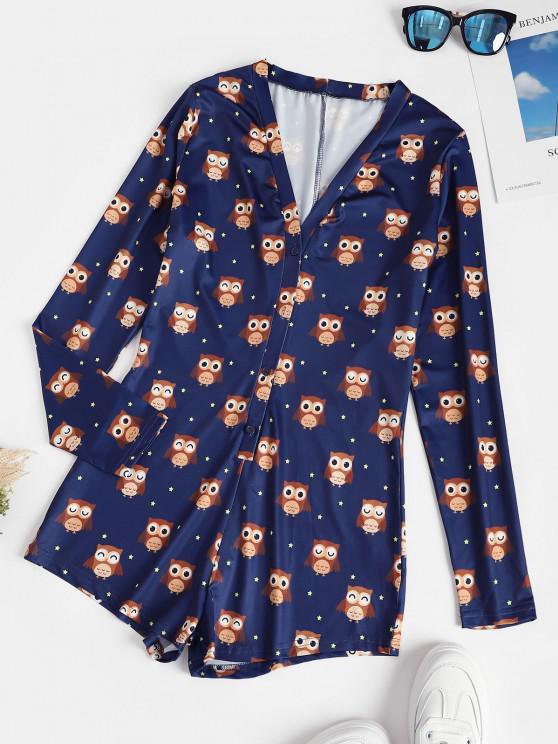 fashion Star Owl Print Button Placket Lounge Romper - DEEP BLUE XL