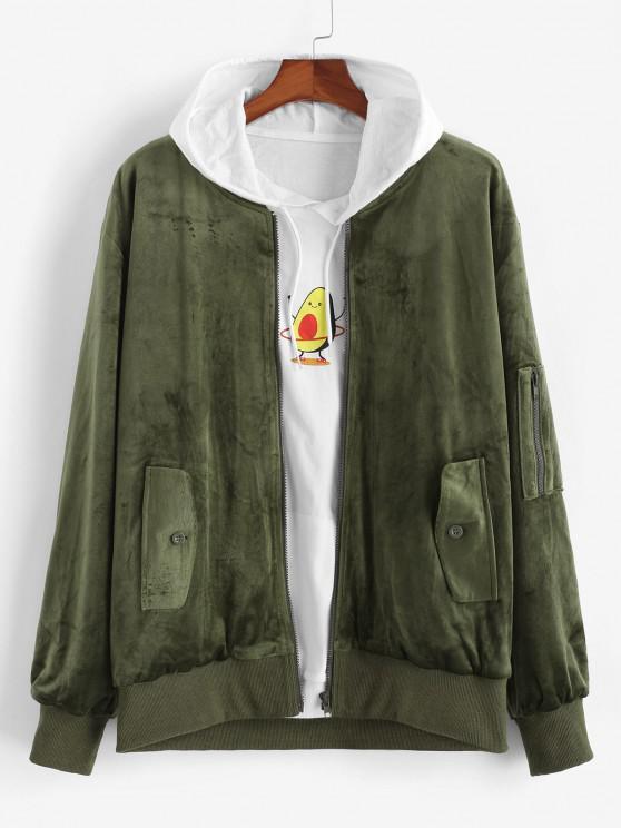 Zip Up Solid Velvet Jacket - ديب غرين L
