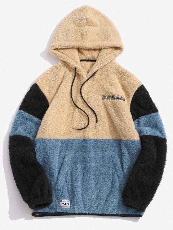 new Dream Embroidery Colorblock Fluffy Hoodie - MULTI M