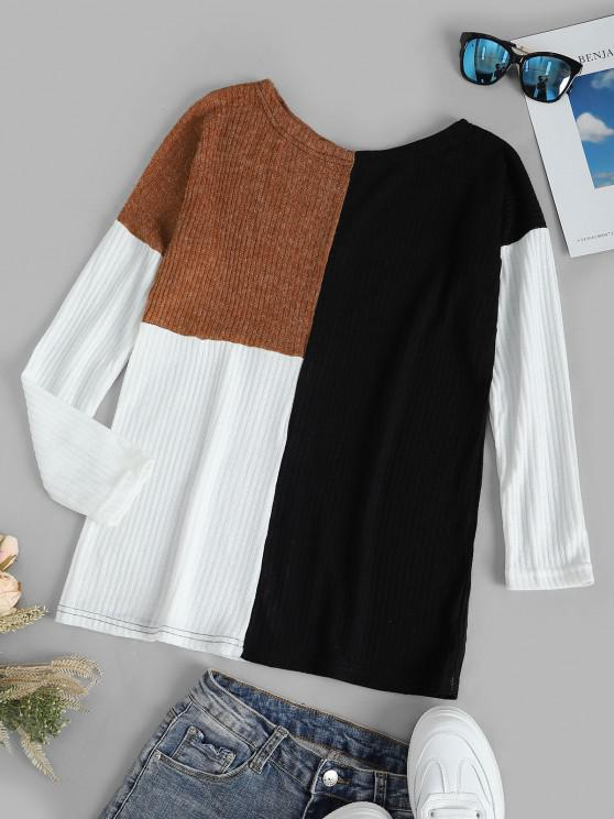 ladies Colorblock Drop Shoulder Knitted Top - BLACK XL
