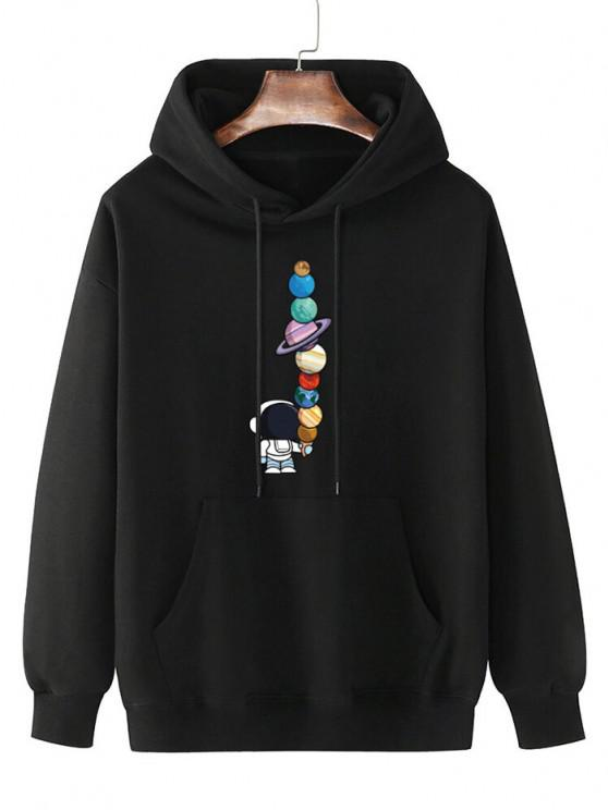 outfit Fleece Lined Planet Astronaut Print Hoodie - BLACK S