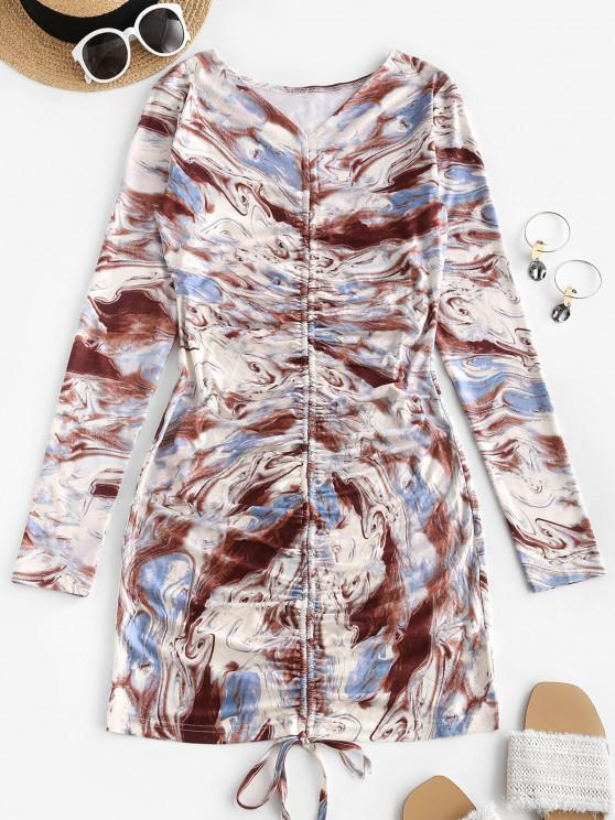 outfits Agate Print Cinched V Neck Mini Dress - MULTI S
