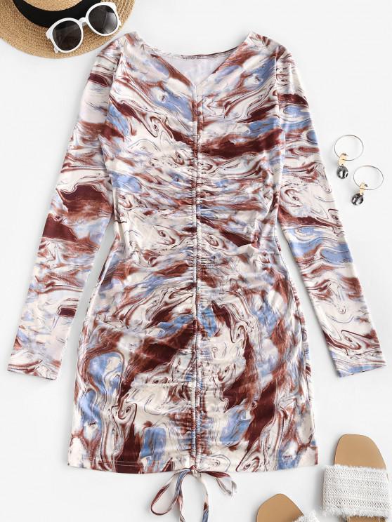 shops Agate Print Cinched V Neck Mini Dress - MULTI L