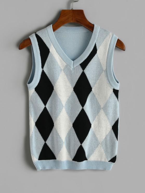 Camisa de malha gola V com mangas compridas - Azul do Mar M