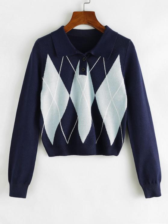 Argyle Cropped Sweater - طالبا الأزرق S