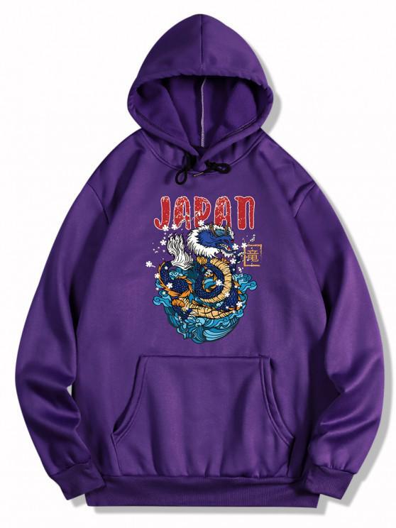 women Dragon Letter Print Oriental Fleece Hoodie - PURPLE IRIS M