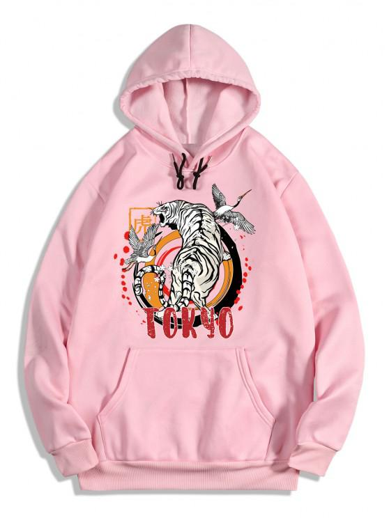 Animal Tiger Crane Print Oriental Fleece Hoodie - خنزير وردي S