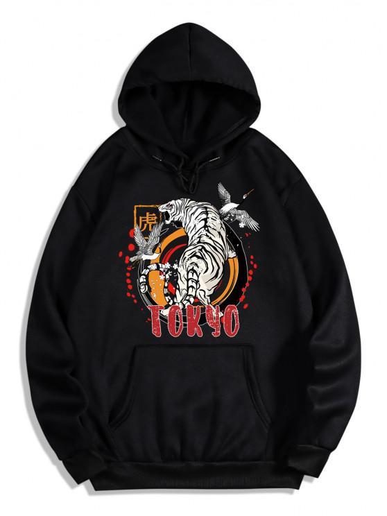 online Animal Tiger Crane Print Oriental Fleece Hoodie - NIGHT 2XL