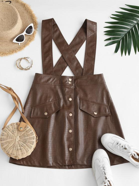 new Faux Leather Button Fly Suspender Skirt - COFFEE M