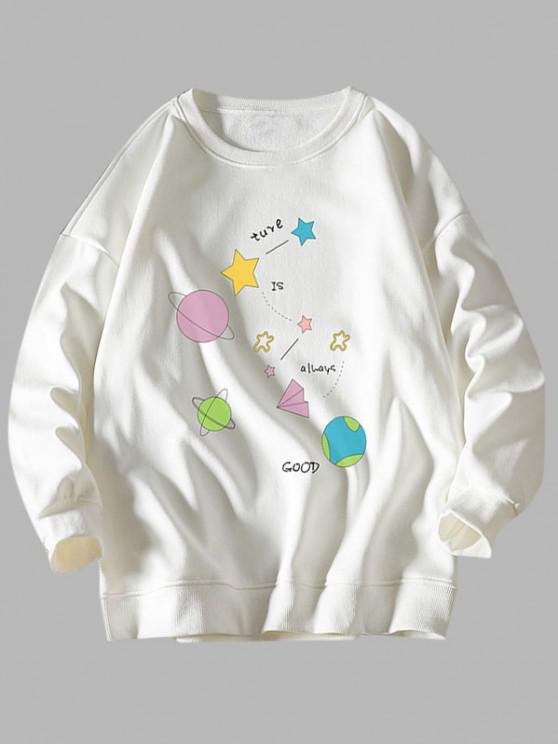 Star Planet Slogan Print Crew Neck Sweatshirt - أبيض L