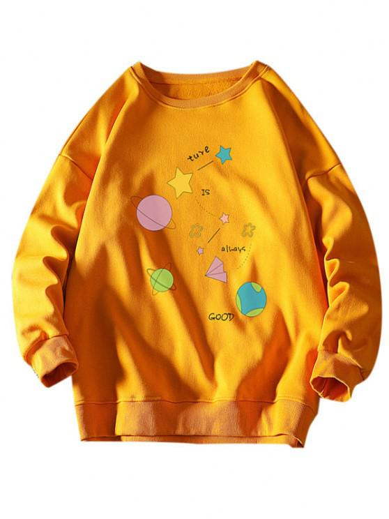 latest Star Planet Slogan Print Crew Neck Sweatshirt - YELLOW 2XL