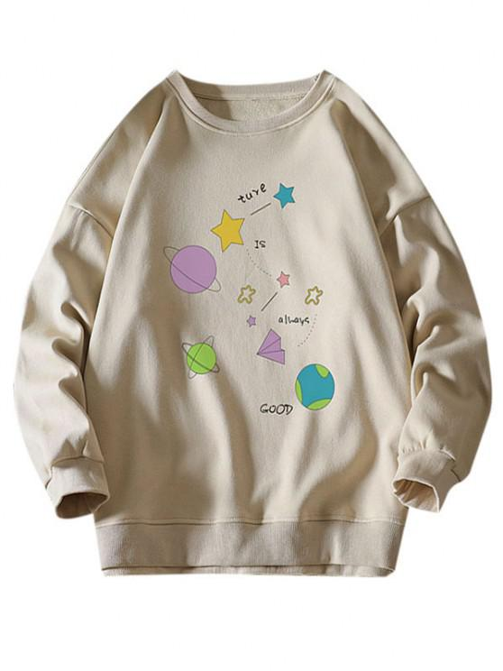 Star Planet Slogan Print Crew Neck Sweatshirt - كاكي S