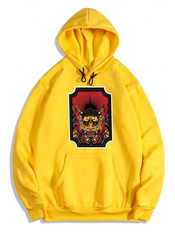 Character Print Kangaroo Pocket Fleece Hoodie - أصفر فاقع 2XL