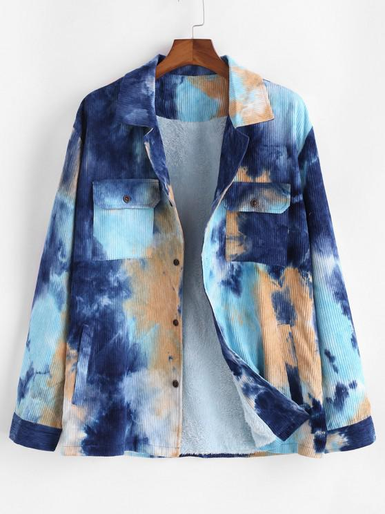hot Tie Dye Fluffy Lined Corduroy Shirt Jacket - BLUE S