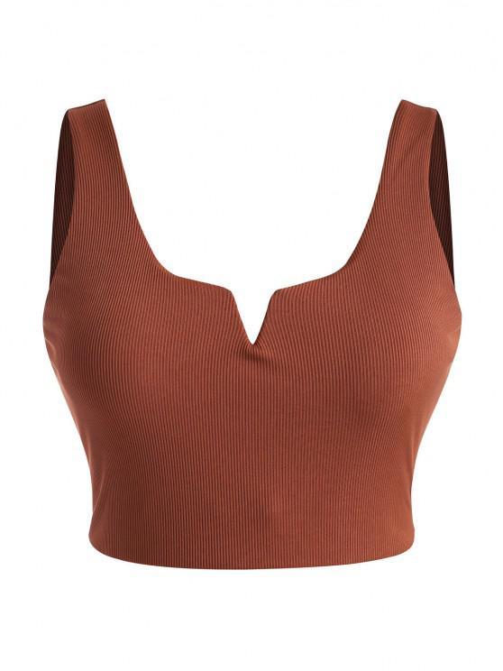 ZAFUL Plus Size Ribbed V-wired Bikini Top - أحمر XXL