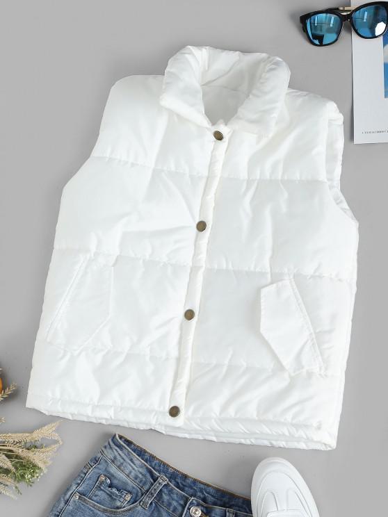 Colete acolchoado com bolsos e botões até a gola - Branco L