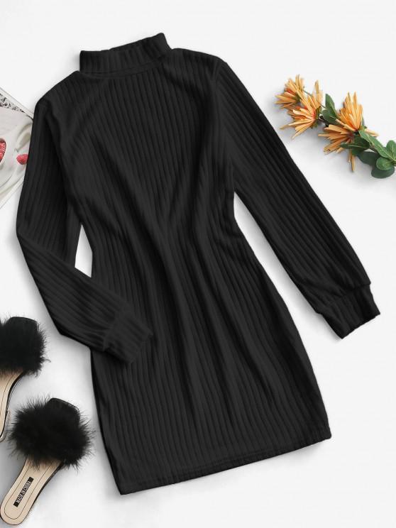 Rollkragen Rippen Strick Tailliertes Kleid - Schwarz XL