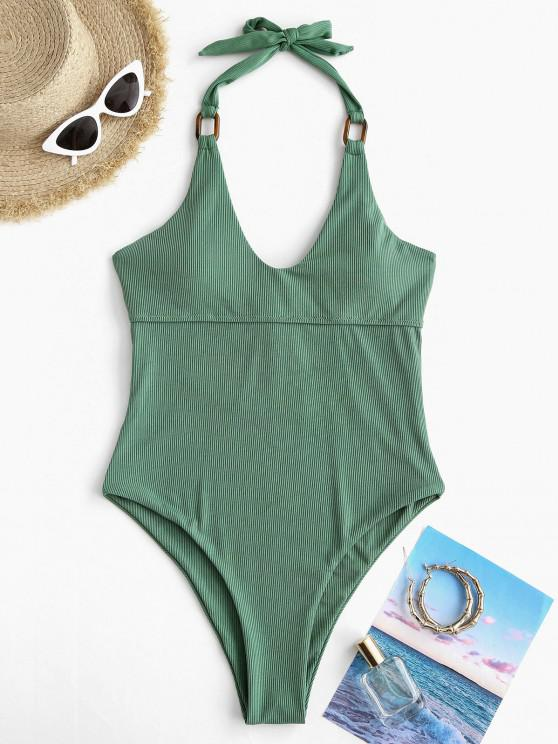 women ZAFUL Rings Ribbed Halter One-piece Swimsuit - DEEP GREEN L
