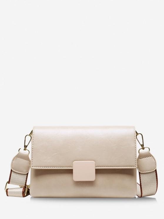 sale Rectangle Cover Wide Strap Crossbody Bag - WHITE