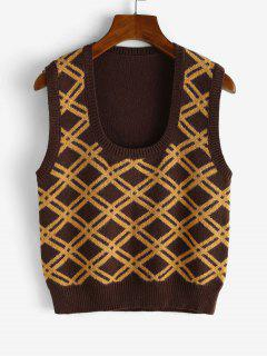 Rhombus U Neck Sweater Vest - Sepia