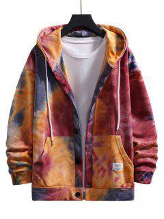 Tie Dye Drop Shoulder Hooded Jacket - Red L