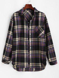 Front Pocket Plaid Tartan Flannel Shirt - Black M