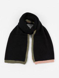 Winter Colorblock Knitted Scarf - Black