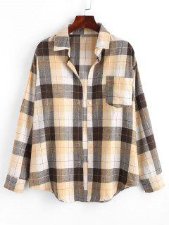 Plaid Boyfriend Shirt - Light Coffee M