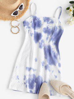 Tie Dye Knitted Mini A Line Dress - Light Slate Blue S