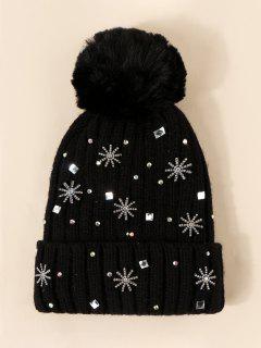 Rhinestone Snowflake Knitted Bubble Beanie - Night