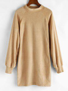 Mock Neck Fuzzy Sheath Dress - Light Coffee M