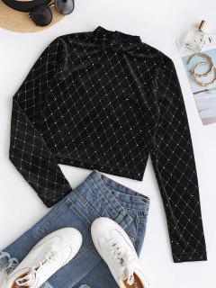 Sparkly Rhombus Velvet Crop T Shirt - Black S
