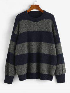 Wide Stripes Drop Shoulder Jumper Sweater - Dark Gray
