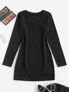 Robe Chemise Moulante Décontractée à Manches Longues - Noir S