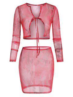 Tie Dye Sheer Mesh Tie Front Two Piece Dress - Multi L