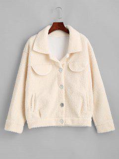 Flap Detail Pocket Teddy Coat - White M