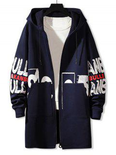 Manteau à Capuche Lettre Imprimée à Double Poches - Cadetblue Xs