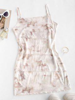 Mesh Insert Tie Dye Exposed Seams Dress - Light Coffee M