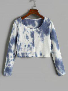 Tie Dye Ribbed Cropped T Shirt - Light Slate Blue M