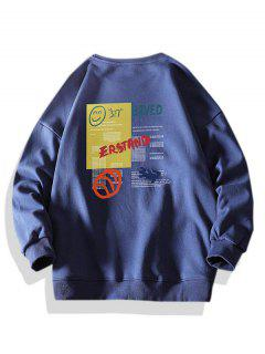 Letter Smiling Face Graphic Crew Neck Sweatshirt - Deep Blue S