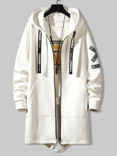 Hooded Letter Tape Detail Double Pockets Coat - White Xl