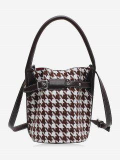 Retro Houndstooth Printed Bucket Bag - Brown