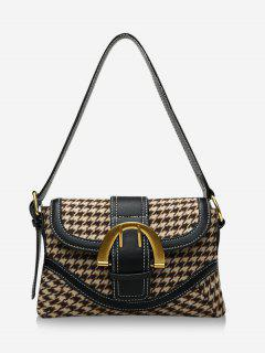 Retro Houndstooth Print Shoulder Bag - Khaki