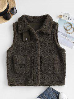 Faux Fur Pockets Teddy Gilet - Brown Bear M