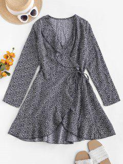 Ditsy Floral Ruffles Long Sleeve Wrap Dress - Deep Blue L