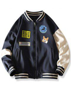 Colorblock Dog Letter Print Baseball Jacket - Cadetblue Xl