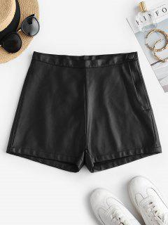 Faux Leather High Waisted Hot Shorts - Black M