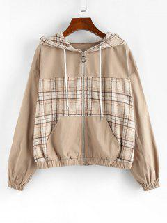 ZAFUL Plaid Drop Shoulder Hooded Pocket Jacket - Light Khaki M
